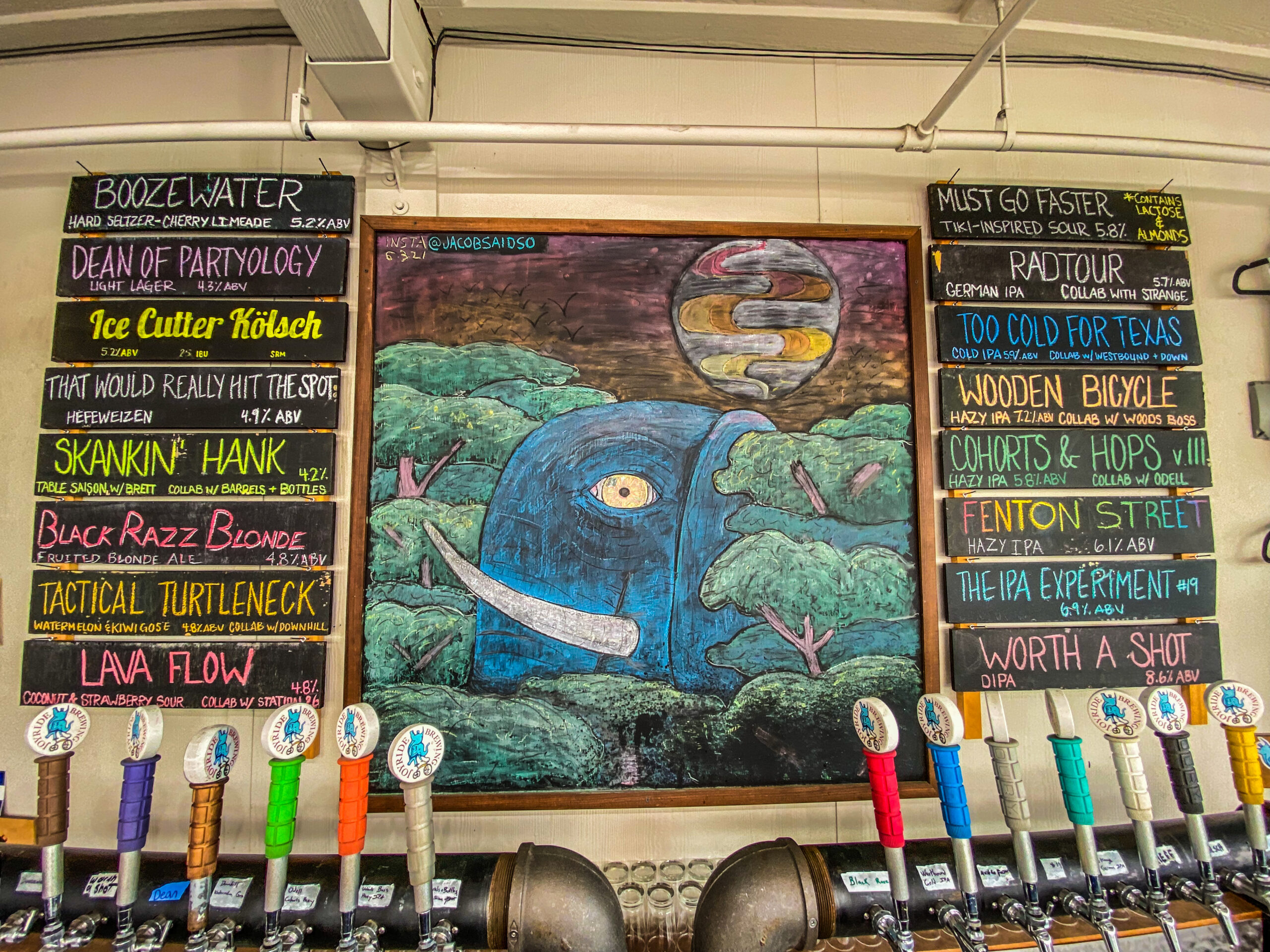 Picture of the taproom beer list chalkboard