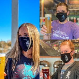 Various pictures of staff members in face masks