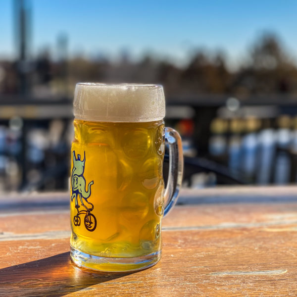Goats go the Helles Lager in a mug